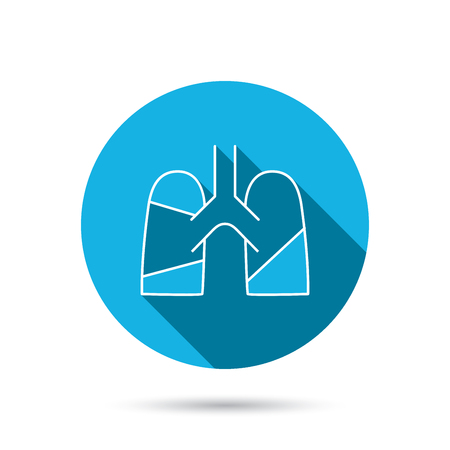 pulmology: Lungs icon. Transplantation organ sign. Pulmology symbol. Blue flat circle button with shadow. Vector