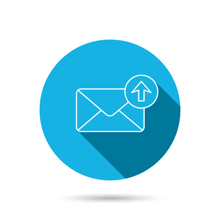 outbox: Mail outbox icon. Email message sign. Upload arrow symbol. Blue flat circle button with shadow. Vector