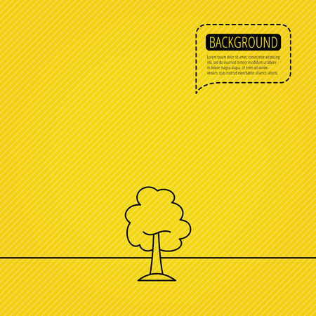 coma: Maple tree icon. Forest wood sign. Nature environment symbol. Speech bubble of dotted line. Orange background. Vector