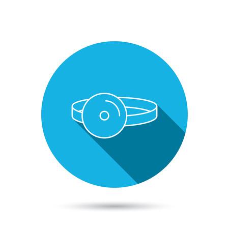 otolaryngology: Medical mirror icon. ORL medicine sign. Otorhinolaryngology diagnosis tool symbol. Blue flat circle button with shadow. Vector Illustration