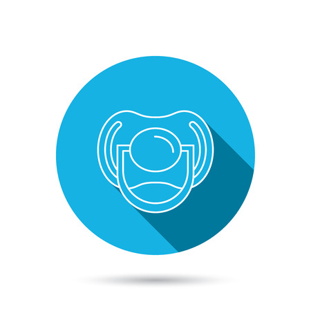 comforter: Pacifier icon. Nipple or dummy sign. Newborn child relax equipment symbol. Blue flat circle button with shadow. Vector Illustration