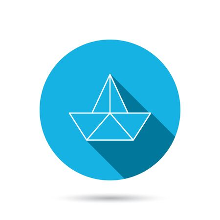 ship sign: Paper boat icon. Origami ship sign. Sailing symbol. Blue flat circle button with shadow. Vector