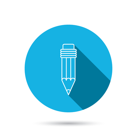 eraser mark: Pencil icon. Drawing tool sign. Blue flat circle button with shadow. Vector
