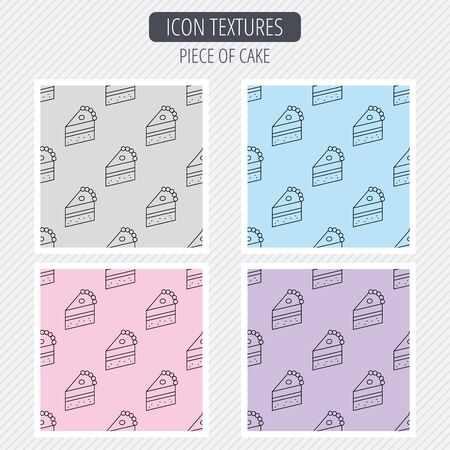 piece of cake: Piece of cake icon. Sweet dessert sign. Pastry food symbol. Diagonal lines texture. Seamless patterns set. Vector