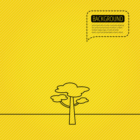 coma: Pine tree icon. Forest wood sign. Nature environment symbol. Speech bubble of dotted line. Orange background. Vector Illustration