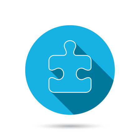 psychic: Puzzle icon. Jigsaw logical game sign. Boardgame piece symbol. Blue flat circle button with shadow. Vector