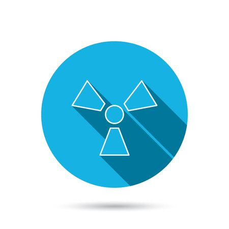 radiology: Radiation icon. Radiology sign. Blue flat circle button with shadow. Vector Illustration
