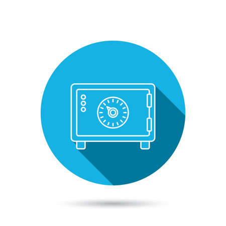 combination safe: Safe icon. Money deposit sign. Combination lock symbol. Blue flat circle button with shadow. Vector Illustration