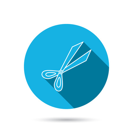 secateurs: Gardening scissors icon. Secateurs tool sign symbol. Blue flat circle button with shadow. Vector Illustration