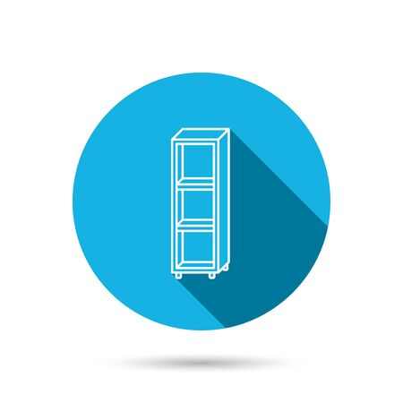shelving: Empty shelves icon. Shelving sign. Blue flat circle button with shadow. Vector
