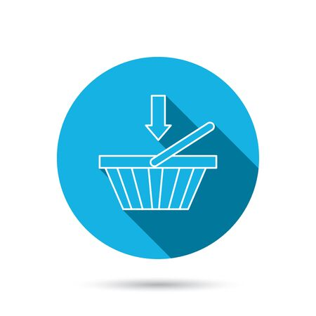 dealings: Shopping cart icon. Online buying sign. Blue flat circle button with shadow. Vector
