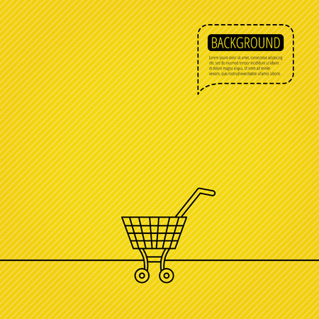 dotted line: Shopping cart icon. Market buying sign. Speech bubble of dotted line. Orange background. Vector