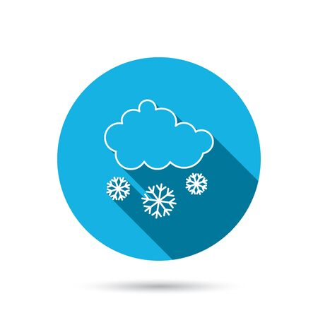 overcast: Snow icon. Snowflakes with cloud sign. Snowy overcast symbol. Blue flat circle button with shadow. Vector