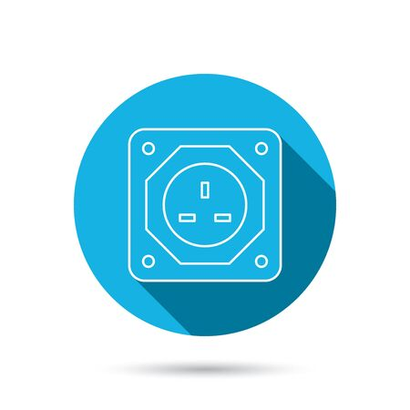 adapter: UK socket icon. Electricity power adapter sign. Blue flat circle button with shadow. Vector Illustration