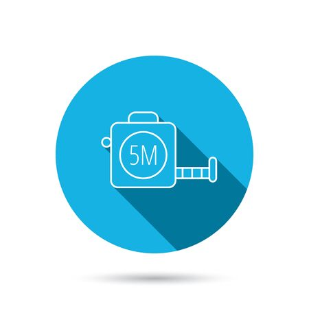 centimetre: Tape measurement icon. Roll ruler sign. Blue flat circle button with shadow. Vector