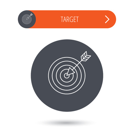 Target with arrow icon. Dart aim sign. Gray flat circle button. Orange button with arrow. Vector