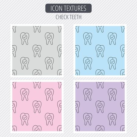 stomatology: Check tooth icon. Stomatology sign. Dental care symbol. Diagonal lines texture. Seamless patterns set. Vector