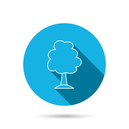 coma: Tree icon. Forest wood sign. Nature environment symbol. Blue flat circle button with shadow. Vector Illustration