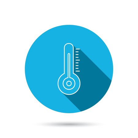 meteorology: Thermometer icon. Weather temperature sign. Meteorology symbol. Blue flat circle button with shadow. Vector
