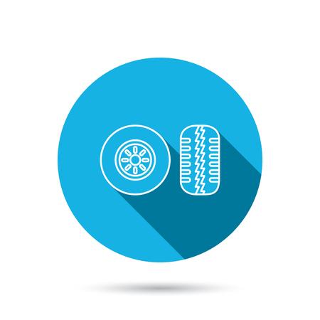 tread: Tire tread icon. Car wheel sign. Blue flat circle button with shadow. Vector