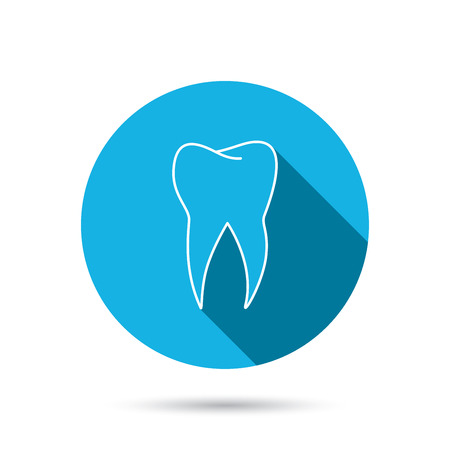 stomatology: Tooth icon. Dental stomatology sign. Dentistry symbol. Blue flat circle button with shadow. Vector