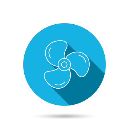 ventilation: Ventilation icon. Fan or propeller sign. Blue flat circle button with shadow. Vector