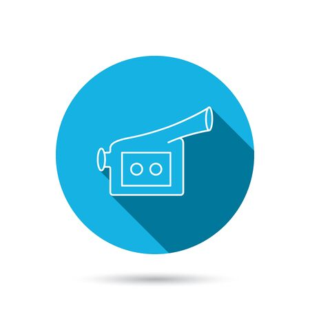 past production: Video camera icon. Retro cinema sign. Blue flat circle button with shadow. Vector Illustration
