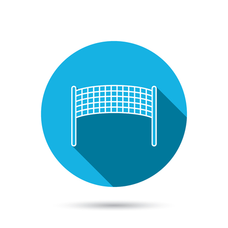 volleyball net: Volleyball net icon. Beach sport game sign. Blue flat circle button with shadow. Vector