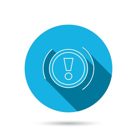 dashboard: Warning icon. Dashboard attention sign. Caution exclamation mark symbol. Blue flat circle button with shadow. Vector Illustration