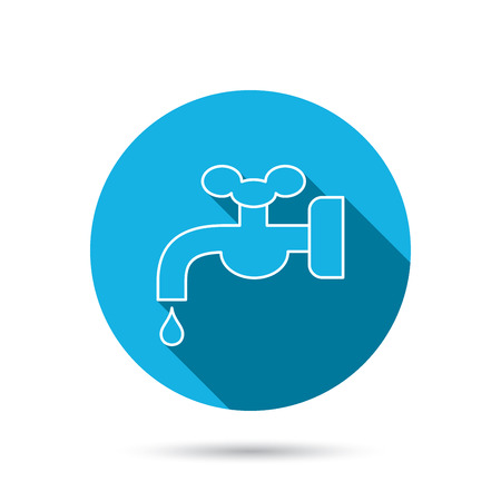 waterworks: Water supply icon. Crane or Faucet with drop sign. Blue flat circle button with shadow. Vector Illustration