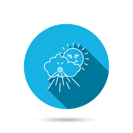 the tempest: Wind icon. Cloud with sun and storm sign. Strong wind or tempest symbol. Blue flat circle button with shadow. Vector Illustration