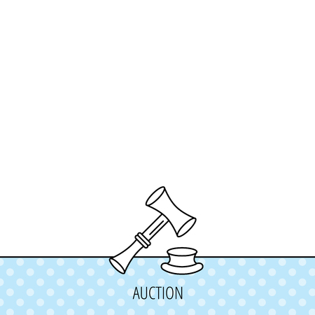 sentencing: Auction hammer icon. Justice and law sign. Circles seamless pattern. Background with icon. Vector