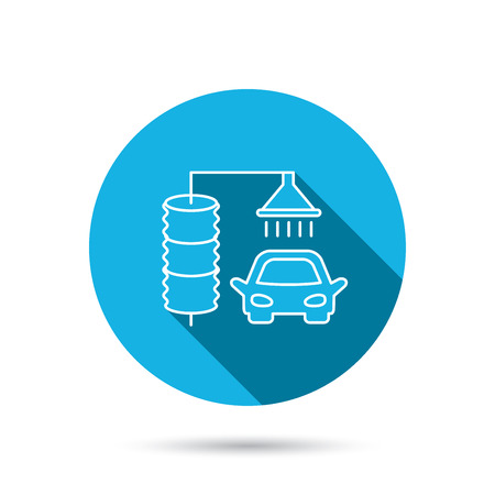 carwash: Automatic carwash icon. Cleaning station sign. Blue flat circle button with shadow. Vector