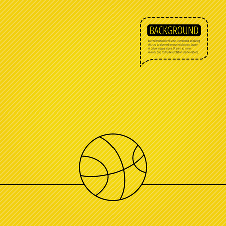 team game: Basketball equipment icon. Sport ball sign. Team game symbol. Speech bubble of dotted line. Orange background. Vector
