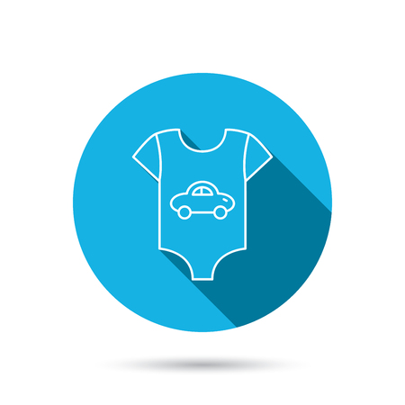 car clothes: Newborn clothes icon. Baby shirt wear sign. Car symbol. Blue flat circle button with shadow. Vector