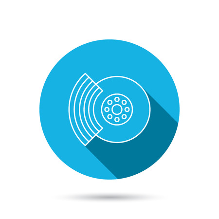 brakes: Brakes icon. Auto disk repair sign. Blue flat circle button with shadow. Vector