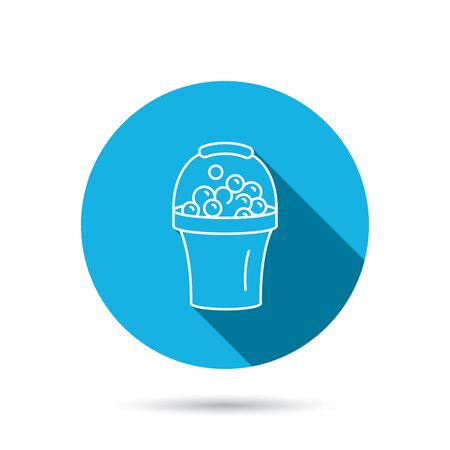 soapy: Bucket with foam icon. Soapy cleaning sign. Blue flat circle button with shadow. Vector