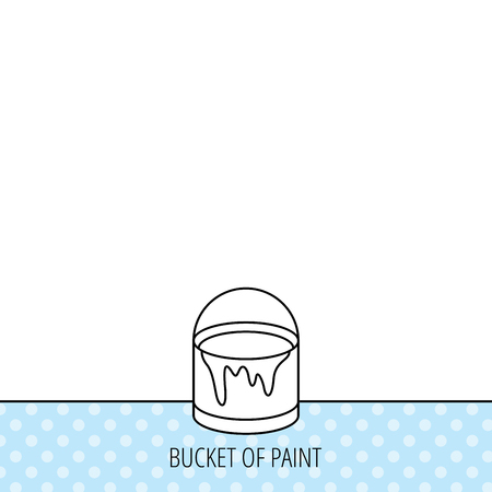 overhaul: Bucket of paint icon. Painting box sign. Circles seamless pattern. Background with icon. Vector