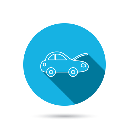 car navigation: Car repair icon. Mechanic service sign. Blue flat circle button with shadow. Vector