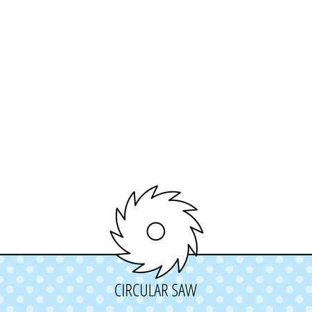 cutoff blade: Circular saw icon. Cutting disk sign. Woodworking sawblade symbol. Circles seamless pattern. Background with icon. Vector Illustration