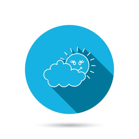 meteorology: Cloudy day with sun icon. Overcast weather sign. Meteorology symbol. Blue flat circle button with shadow. Vector