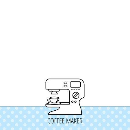sign maker: Coffee maker icon. Hot drink machine sign. Circles seamless pattern. Background with icon. Vector Illustration