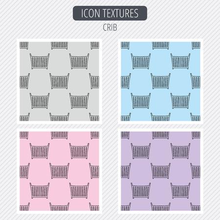 baby crib: Baby crib bed icon. Child cradle sign. Newborn sleeping cot symbol. Diagonal lines texture. Seamless patterns set. Vector