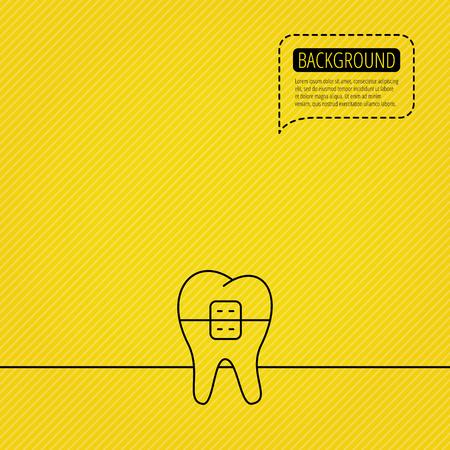 dental braces: Dental icono de llaves. Signo de la salud dental. S�mbolo de ortodoncia. Burbuja del discurso de la l�nea de puntos. Fondo anaranjado. Vector