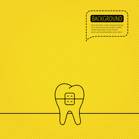 Dental braces icon. Tooth healthcare sign. Orthodontic symbol. Speech bubble of dotted line. Orange background. Vector