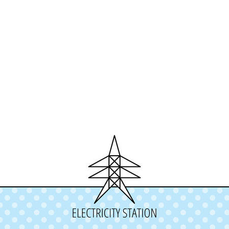 electricity pylon: Electricity station icon. Power tower sign. Circles seamless pattern. Background with icon. Vector