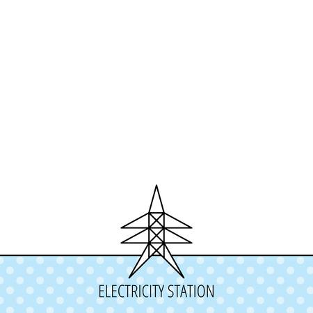 electricidad: Icono de la estaci�n de Electricidad. Se�al de la torre de energ�a. C�rculos sin patr�n. Fondo con el icono. Vector