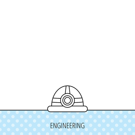 Engineering icon. Engineer or worker helmet sign. Circles seamless pattern. Background with icon. Vector Illustration