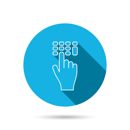 pin code: Enter pin code icon. Click hand pointer sign. Blue flat circle button with shadow. Vector Illustration