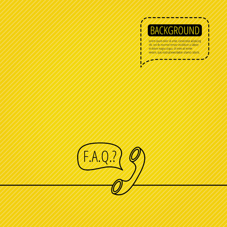 answers: FAQ service icon. Support speech bubble sign. Phone symbol. Speech bubble of dotted line. Orange background. Vector